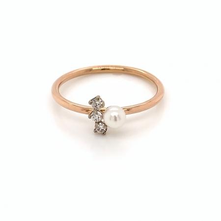 Inel Anastacia aur rose 14K cu Diamante si Perla Akoya