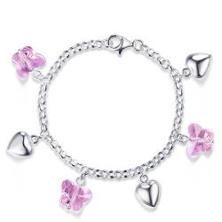 Bratara pentru Copii Borealy Argint 925 Pink Heart Butterfly0
