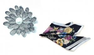 Brosa Dentelle Bouquet & Esarfa Matase Flowers by Borealy3
