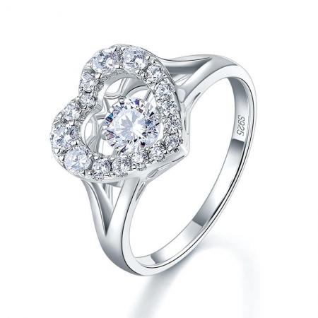 Borealy Inel Argint 925 Diamond Dancing Heart, Masura 51