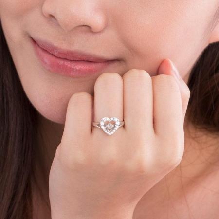 Borealy Inel Argint 925 Diamond Dancing Heart, Masura 53