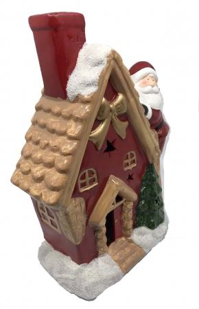 Decoratiune Craciun Santa On The House - ceramica, 30 cm inaltime x 12 cm latime x 9 latime [1]