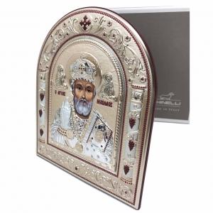 Icoana Sf. Nicolae placata cu aur si argint by Chinelli - Made in Italy2