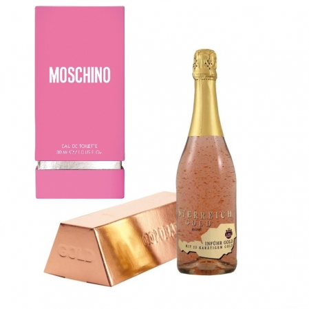 Cadou Rose Gold Luxury Şampanie - cu foiţă de aur 23 karate & Parfum Moschino Fresh Pink Couture 30 ml [0]