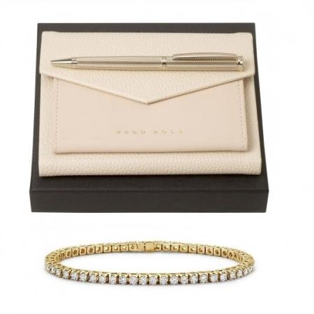 Set Sophisticated Lady, Ballpoint si Note Pad Hugo Boss, si Brăţară Tennis Gold Diamonds