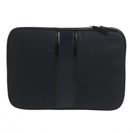 Cadou Business Geanta Laptop Ungaro Pitone Piele Blue & Butoni Noir by Borealy4