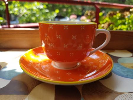 Set 6 cescute + farfurii de cafea Orange by Zafferano3