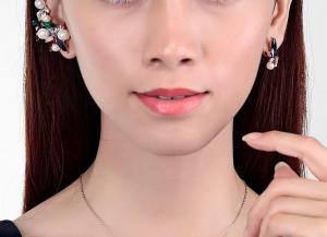 Cercei Borealy Crystal Pearl Ear Cuff Asimetrici Colours3
