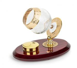 Set Încălzitor de Cognac de Lux by Credan si Butoni Gold Round by Credan1