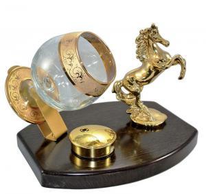Set Încălzitor de Cognac Power Horse by Credan si Butoni Gold Round by Credan1