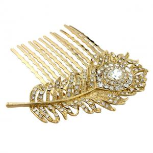 Agrafa Borealy Peacock Feather Gold0