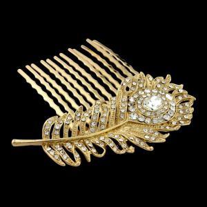 Agrafa Borealy Peacock Feather Gold2