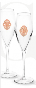 Arabesque Spumante Set 6 Glasses Champagne Pink Gold Plated by Chinelli - made in Italy1