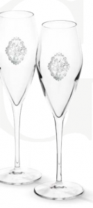 Arabesque Spumante Set 2 Glasses Champagne Silver Plated by Chinelli - made in Italy1