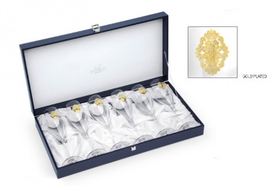 Arabesque Spumante Set 6 Glasses Champagne Gold Plated by Chinelli - made in Italy