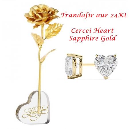 Aur 24k Trandafir & Suport Inima & Cercei Sapphire Heart0