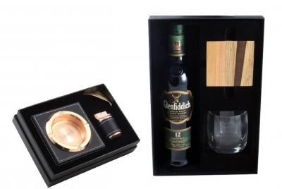 Black Leather Smoking Set & Glenfiddich Gift Set