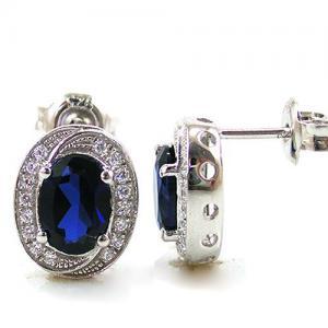Blue Safir Colier şi Cercei 4 carate & Silver 9253