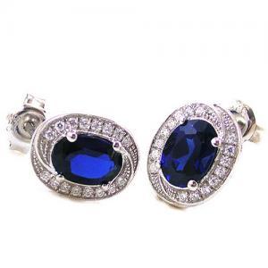 Blue Safir Colier şi Cercei 4 carate & Silver 9252