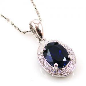 Blue Safir Colier şi Cercei 4 carate & Silver 9256