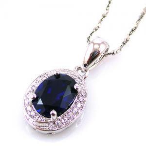 Blue Safir Colier şi Cercei 4 carate & Silver 9254