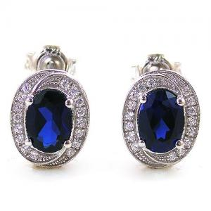 Blue Safir Colier şi Cercei 4 carate & Silver 9251