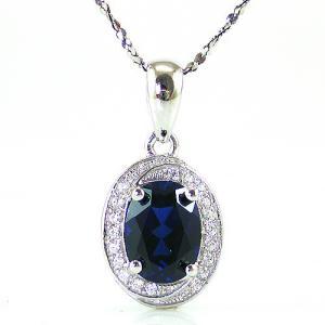 Blue Safir Colier şi Cercei 4 carate & Silver 9255