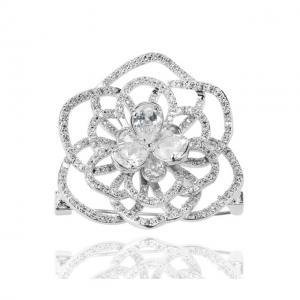 Set Borealy Simulated Sapphire Colier, Cercei, Brosa si Inel Camellia Luxury11