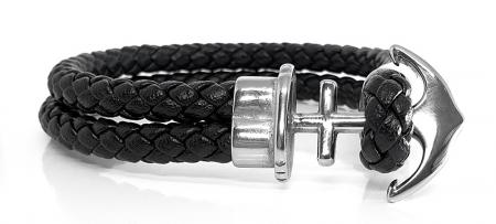 Bratara Anchor Black Leather by Borealy