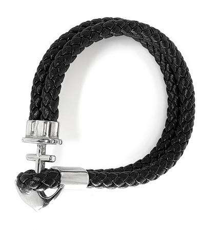 Bratara Anchor Black Leather by Borealy1