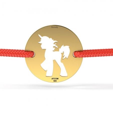 Bratara Unicorn Decupat din Aur galben 14 kt personalizabila