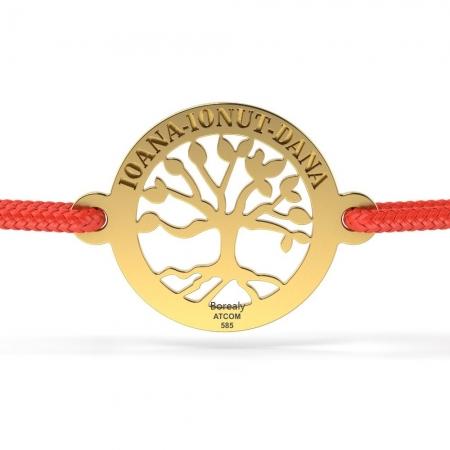 Bratara Copacul vietii din aur galben 14 kt personalizabila