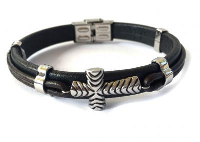 Brăţară Borealy Black Leather & Silver Cross Accents0
