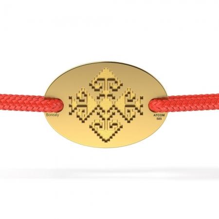 Bratara Motive Traditionale din Aur galben 14 kt personalizabila