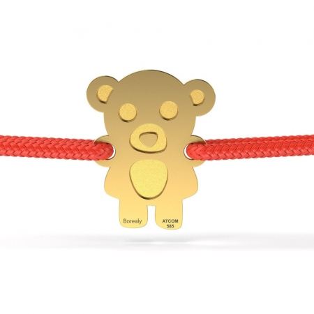 Bratara Teddy Bear din Aur galben 14 kt personalizabila