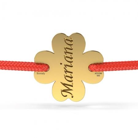 Bratara Trifoi Norocos Decupat din Aur galben 14 kt personalizabila