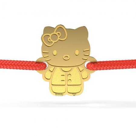 Bratara Hello Kitty din Aur galben 14 kt personalizabila