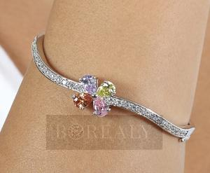 Bratara Borealy Simulated Topaz 3 Carate Colours Flower1