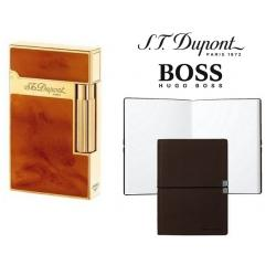 Set Bricheta S.T.Dupont Ligne 2 Atelier Brown si Note Pad Burgundy Hugo Boss
