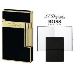 Set Bricheta S.T. Dupont Ligne 2 Black Lacquer Yellow Gold si Note Pad Black Hugo Boss
