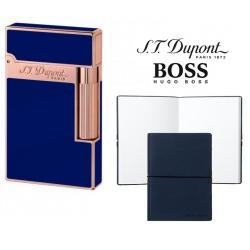 Set Bricheta S.T. Dupont Ligne 2 Blue Lacquer Pink Gold si Note Pad Blue Hugo Boss