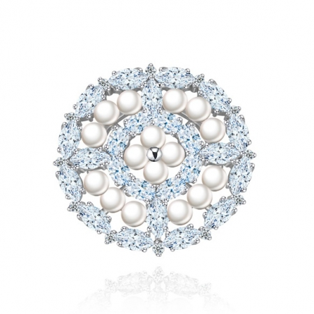 Broşă Borealy Crystal Round Pearls0