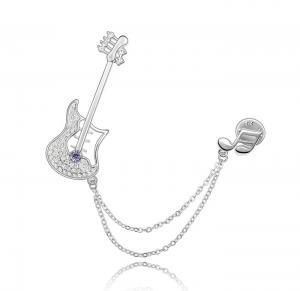 Broşă Quitar & Musical Note Tanzanite Stone0