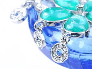 Broşă Flowers Turquoise & Purple Crystal Borealy2
