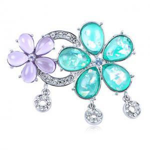 Broşă Flowers Turquoise & Purple Crystal Borealy0