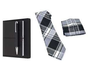 Business Gift Set Agenda cu Pix Hugo Boss si Cravata cu batista costum - personalizabil