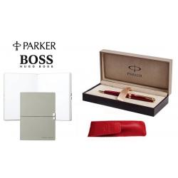 Set Business Pix Parker Ruby Pen Aur 23kt si Note Pad Grey Hugo Boss