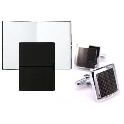 Set Butoni Black Carbon Gentleman si Note Pad Black Hugo Boss0
