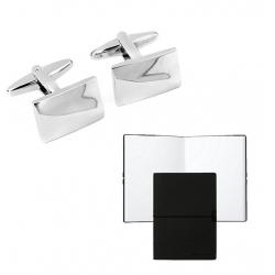 Set Butoni Monograma Chrome Finish si Note pad Black Hugo Boss0