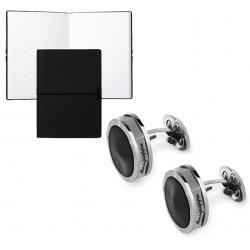 Set Butoni Nero Uno Silver Resin by Montegrappa si Note pad Black Hugo Boss0